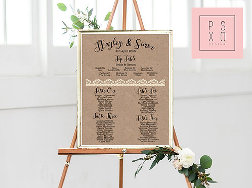 Hayley - Rustic Kraft With Lace Effect Table Plan