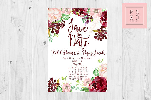 Poppy Burgundy And Blush Floral Calendar Save The Date Magnets