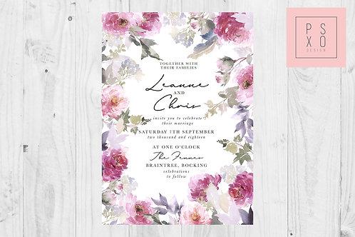Leanne Beautiful Rancula's Pink & Purple Wedding Invite