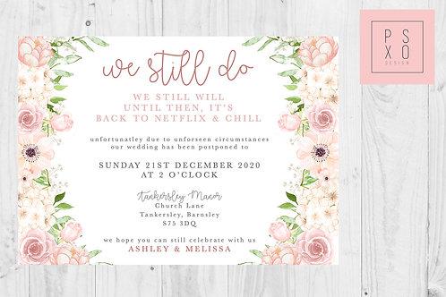Marie Blush White Design / Postponed Wedding / Change Of Plan /  Digital File