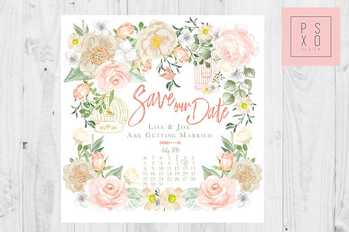 Sweet Peach & Green Floral Save The Date Magnets