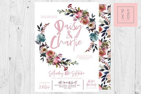 Dusty Pink & Blue Wildflower Wedding Invite