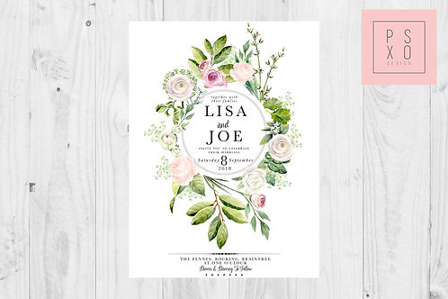 Blush & Pink Botanical Gin Wedding Invite