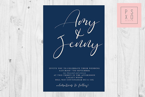Amy Jenny Navy & Ivory Calligraphy Invites