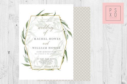 Beautiful Foliage And Gold Geometric Wedding Invite Set