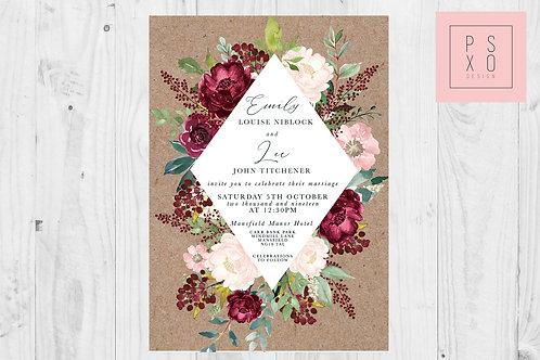 Burgundy & Blush Floral Diamond RusticWedding Invite