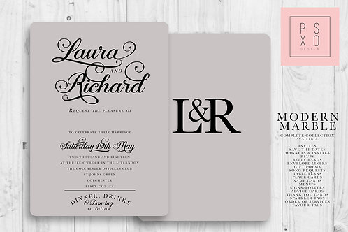 Modern Grey Calligraphy Themed Wedding Invites