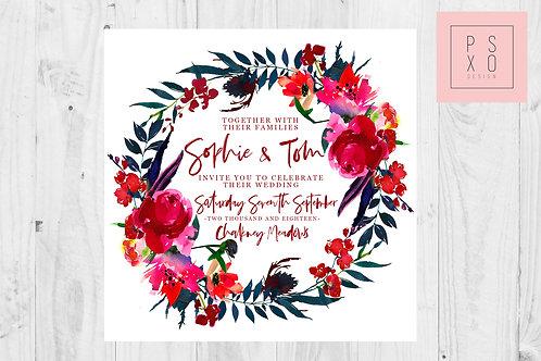 Sophie | Bright Beautiful Floral Wild Flower Wreath | Cranberry & Navy