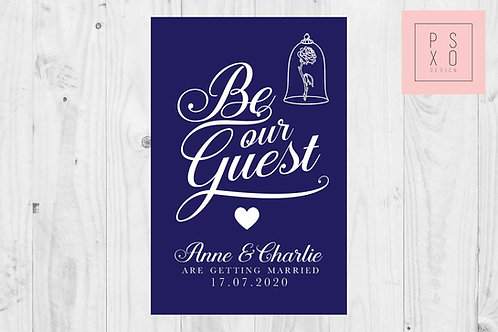 Solid Background 'Be Our Guest' Calligraphy Themed Save The Date Magnets