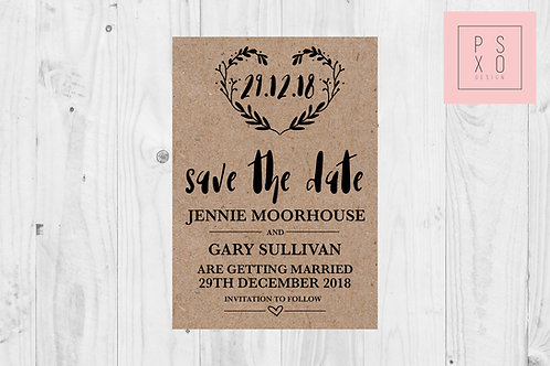 Rustic Kraft Themed Save The Date Magnets