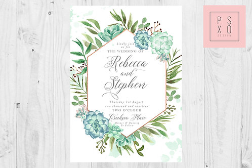 Botanical Eucalyptus And Foliage Hexagon Wedding Invite