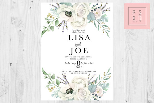 Beautiful White Floral And Foliage With Lavender Wedding Invite