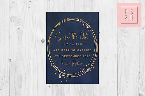 Navy & Copper Modern Design Save the date Magnet