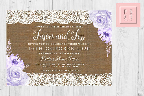 Jess Hessian & Lilac Lace Rustic Invites