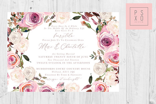 Chantelle Frosty Rose Horizontal Invite