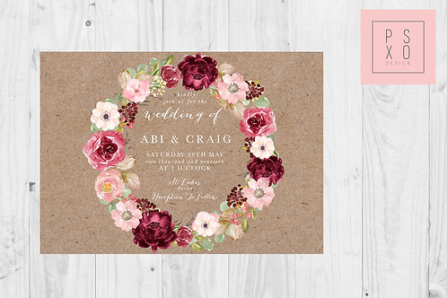 Burgundy & Blush Wreath Rustic Wedding Invite