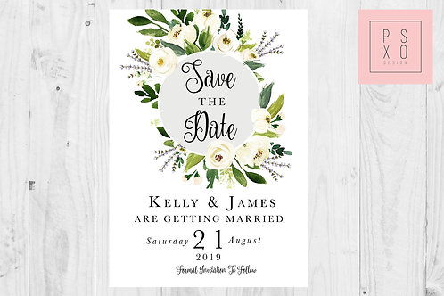 White Floral Foliage Save The Date Magnet