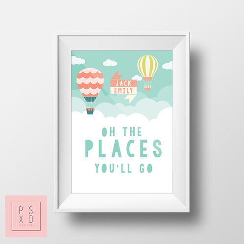 """Personalised """"Oh The Places You'll Go"""" Dr Seuss Print"""
