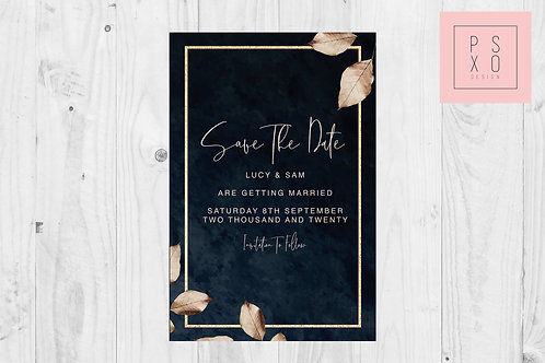 copy of Modern Foliage Leaf Gold & Black Save The Date Magnet