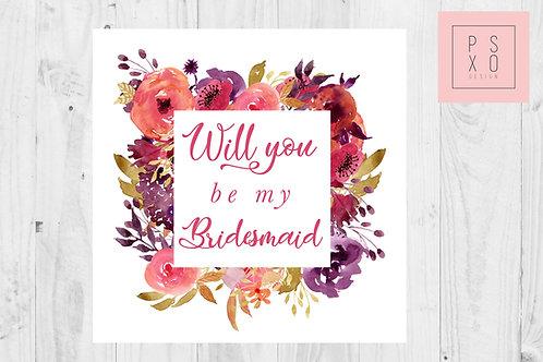 Beautiful Winter Floral Bridesmaid Proposal Card