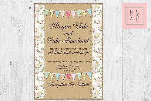Shabby Chic Bunting & Kraft Floral Wedding Invites