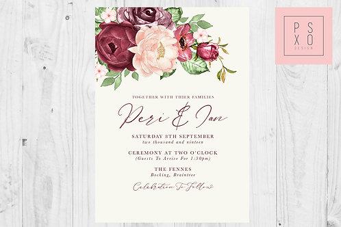 Large Burgundy & Blush Floral Invite