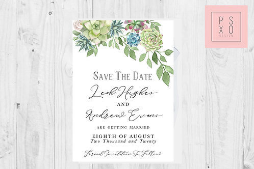 Succulent Leah/Emma Save The Date Magnet