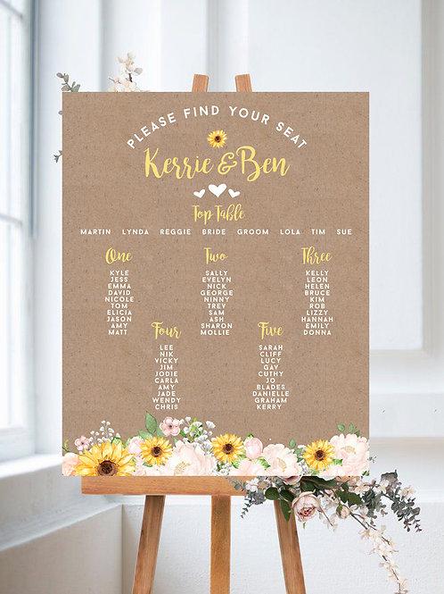 Rustic Blush & Sunflower Table Plan