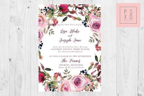 Frosty Rose Wedding Invite Set