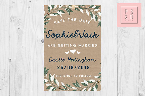 Rustic Foliage Kraft Themed Save The Date Magnets