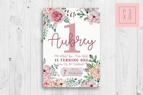 Beautiful Vintage Pink Flower Invite