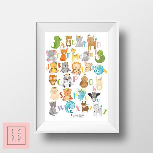 Cute Animal Alphabet Print