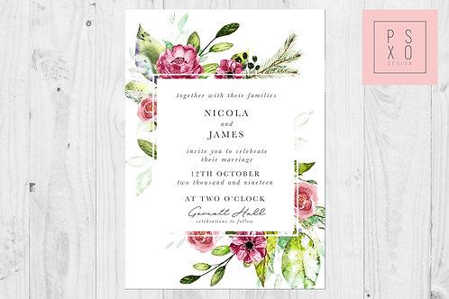 Nicola Burgundy Floral Wedding Invite