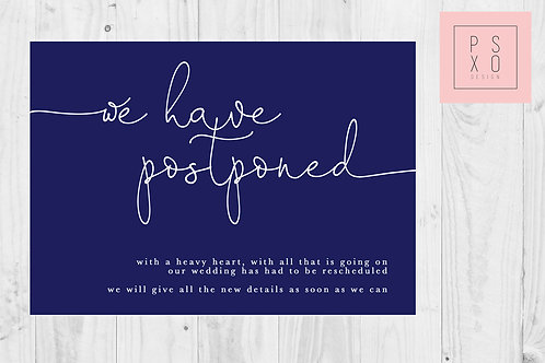 Navy Simple Oh Darling / Postponed Wedding / Change Of Plan /  Digital