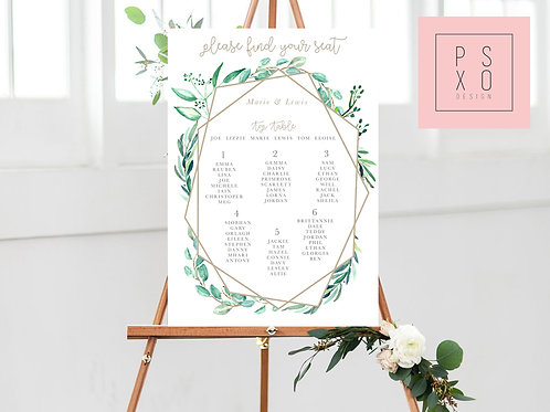 Marie - Eucalyptus Geometric Themed Table Plan