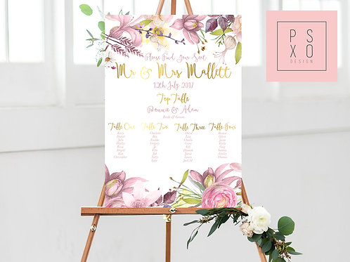 Bonnie - Pink And Gold Wildflower Table Plan