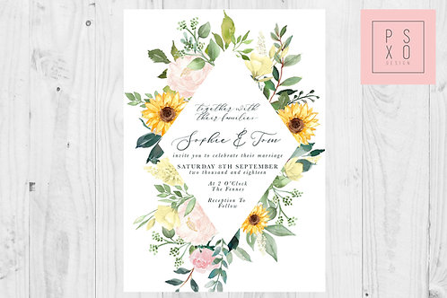 Wild Flower Blush And Sunflower Diamond Themed Wedding Invites