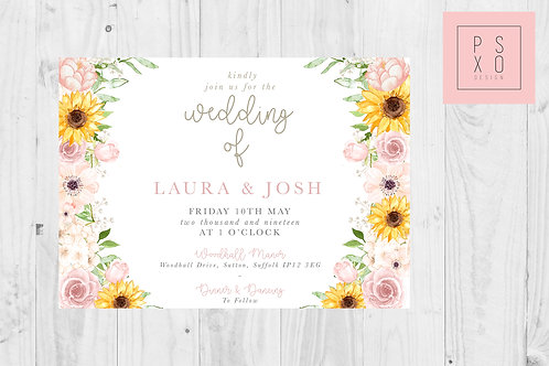 Laura White Rustic Blush & Sunflower Themed Wedding Invites