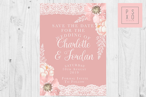Gabriella Range - Blush & White Lace Floral Save The Date Magnets