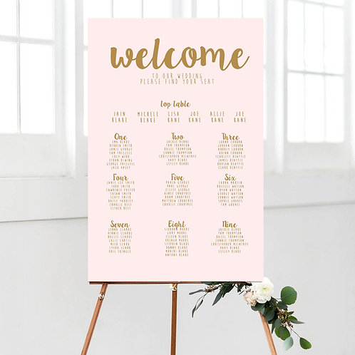 Lilybelle / Gold & Blush Calligraphy Table Plan