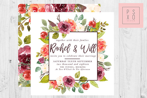 Winter Watercolour Floral Themed Wedding Invites