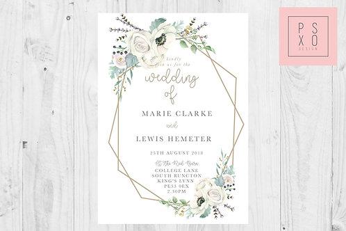 White Marie | Modern Vintage Floral Geometric Wedding Invite