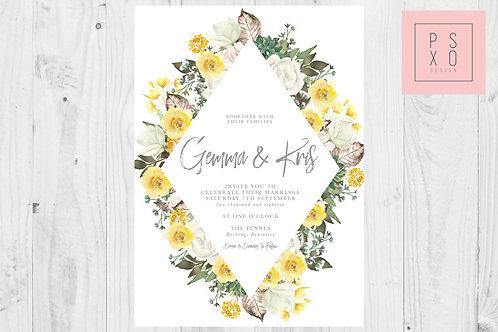 Wild Flower Garden Diamond Wedding Invite