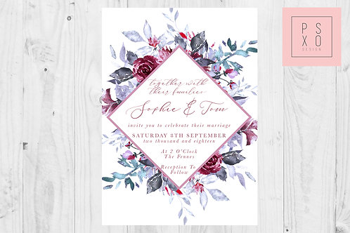 Beautiful Watercolour Burgundy And Blue Diamond Floral Invites