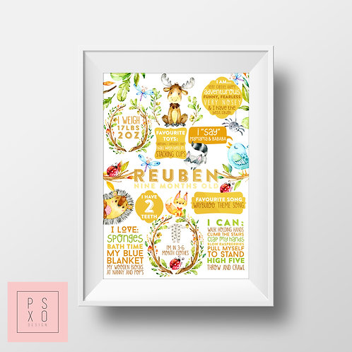 Watercolour Forest Animal Themed First Birthday Chalkboard Poster