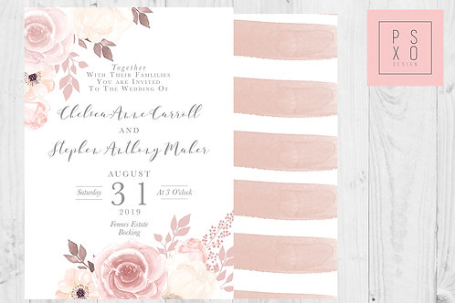 Beautiful Blush Floral Vintage Calligraphy Themed Wedding Invites
