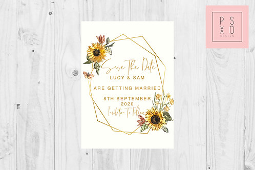 Geometric Sunflower Modern Design Save the date Magnet