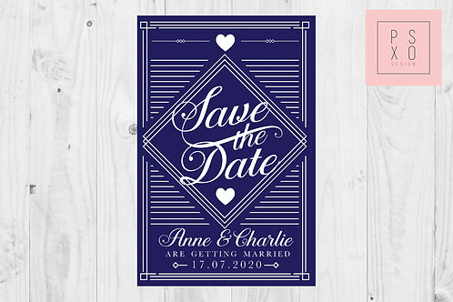 Navy Art Deco Themed Save The Dates