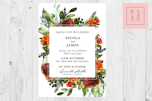 Nicola Autumn Floral Square Foliage Invites