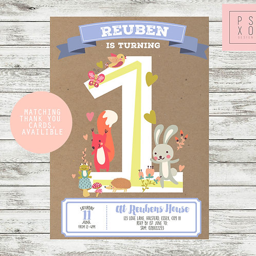 Sweet Forest Animal Themed Birthday Invite